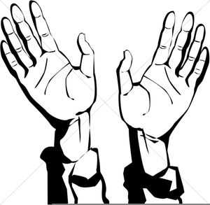 Hands Lifted In Worship Clipart.