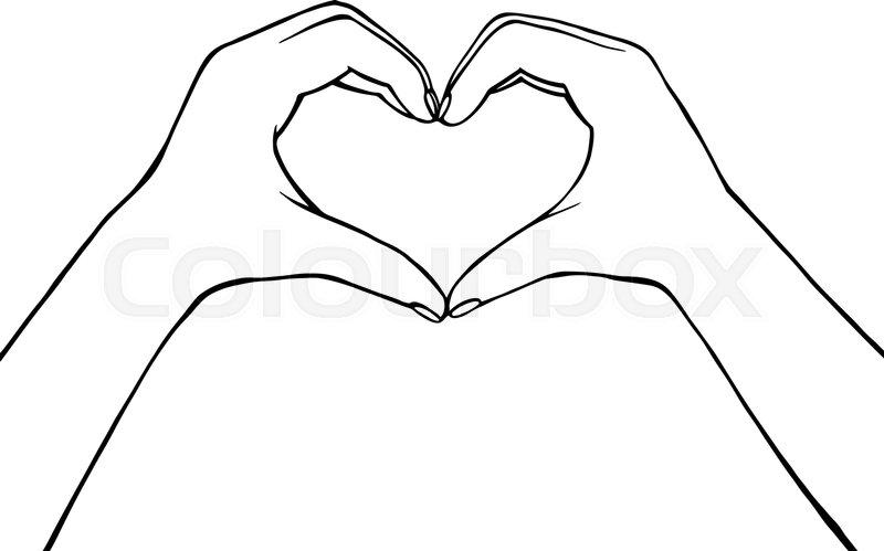 Vector illustration hand making heart.