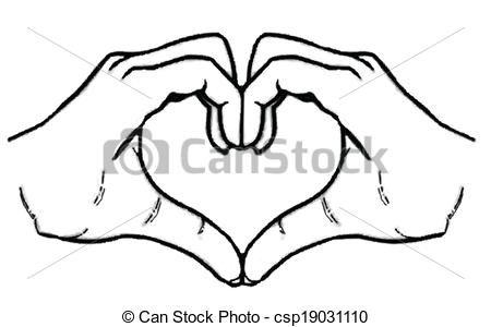 Heart hands vector clip art.