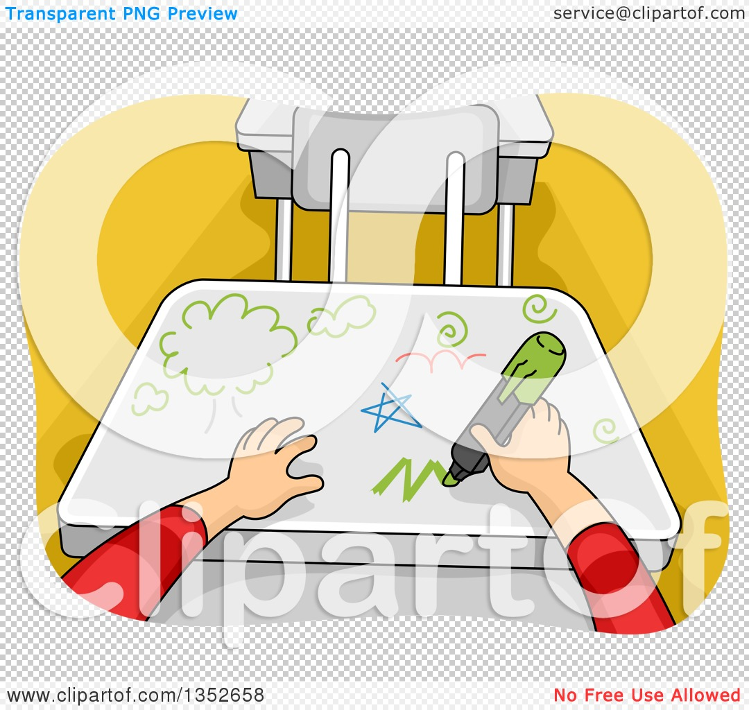 Clipart of Cartoon Student Hands Writing on a Desk.