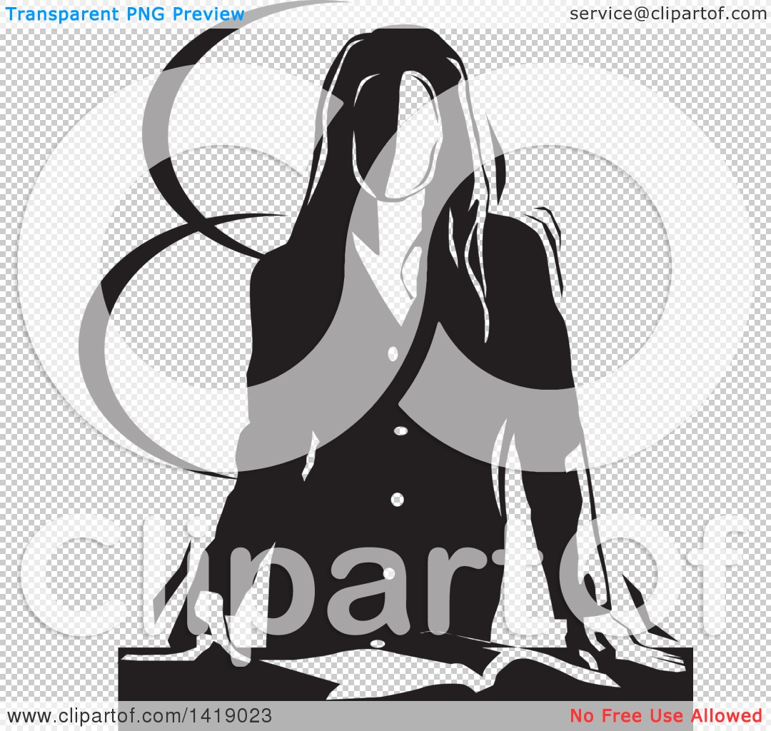 Clipart of a Black and White Professional Business Woman Resting.