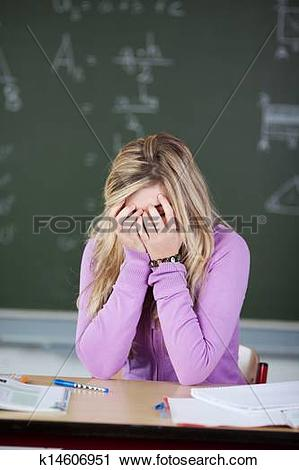 Stock Photography of Frustrated Student With Covering Face With.