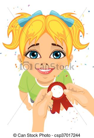 EPS Vector of man's hands pins an award ribbon to chest of little.