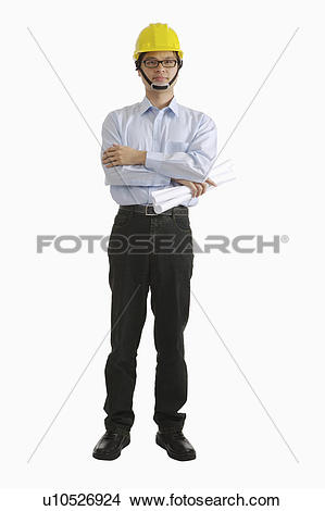 Stock Photo of Engineer standing with hands on chest and holding.