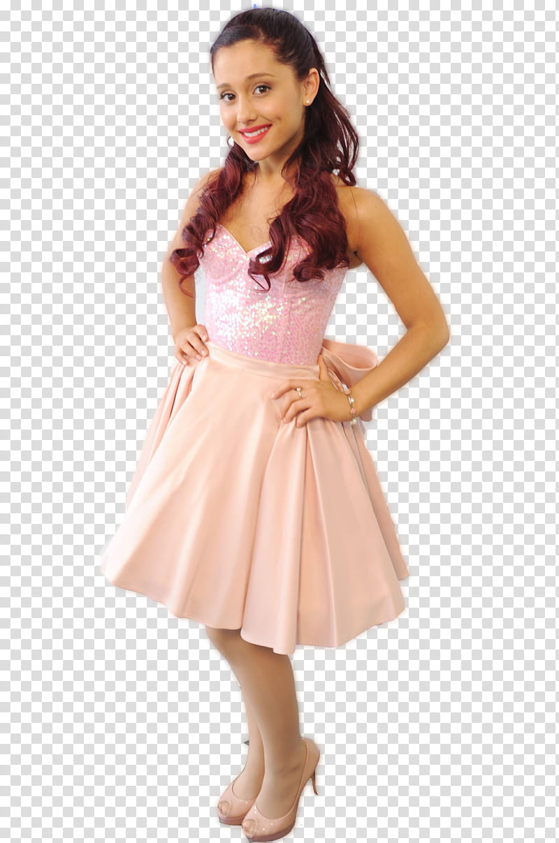 Ariana Grande, smiling woman wearing pink satin dress while.
