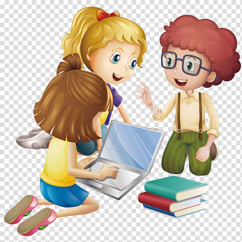 Animated girl using laptop, Student Cartoon Learning.