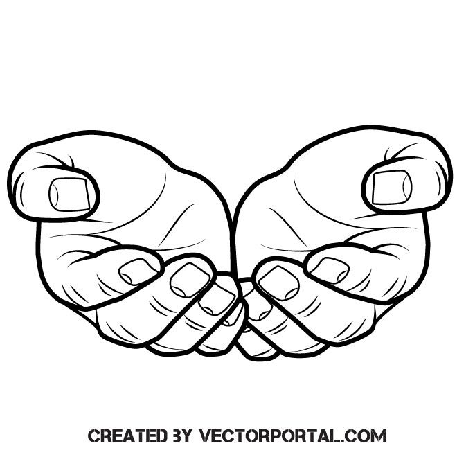 Outstretched hands vector clip art.