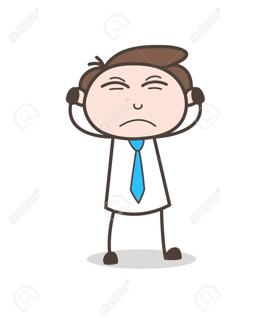 Angry Young Businessman Putting Hands on Ears Vector.