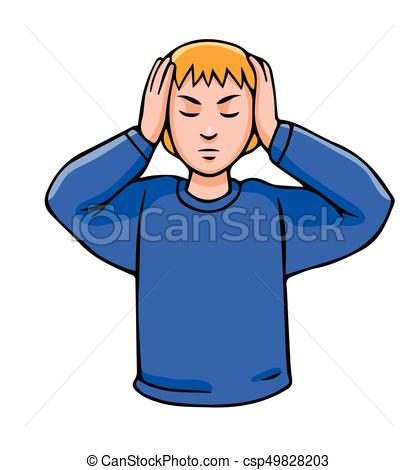 Vector illustration in cartoon style isolated on white. Man closing his  ears with his hands..