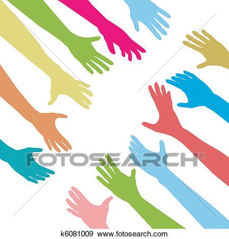 People hands reach out across unite connect Clip Art.