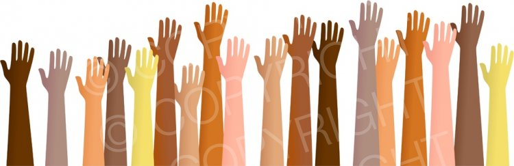 A Group of Diverse Hands Reaching Out Anatomy Clip Art.