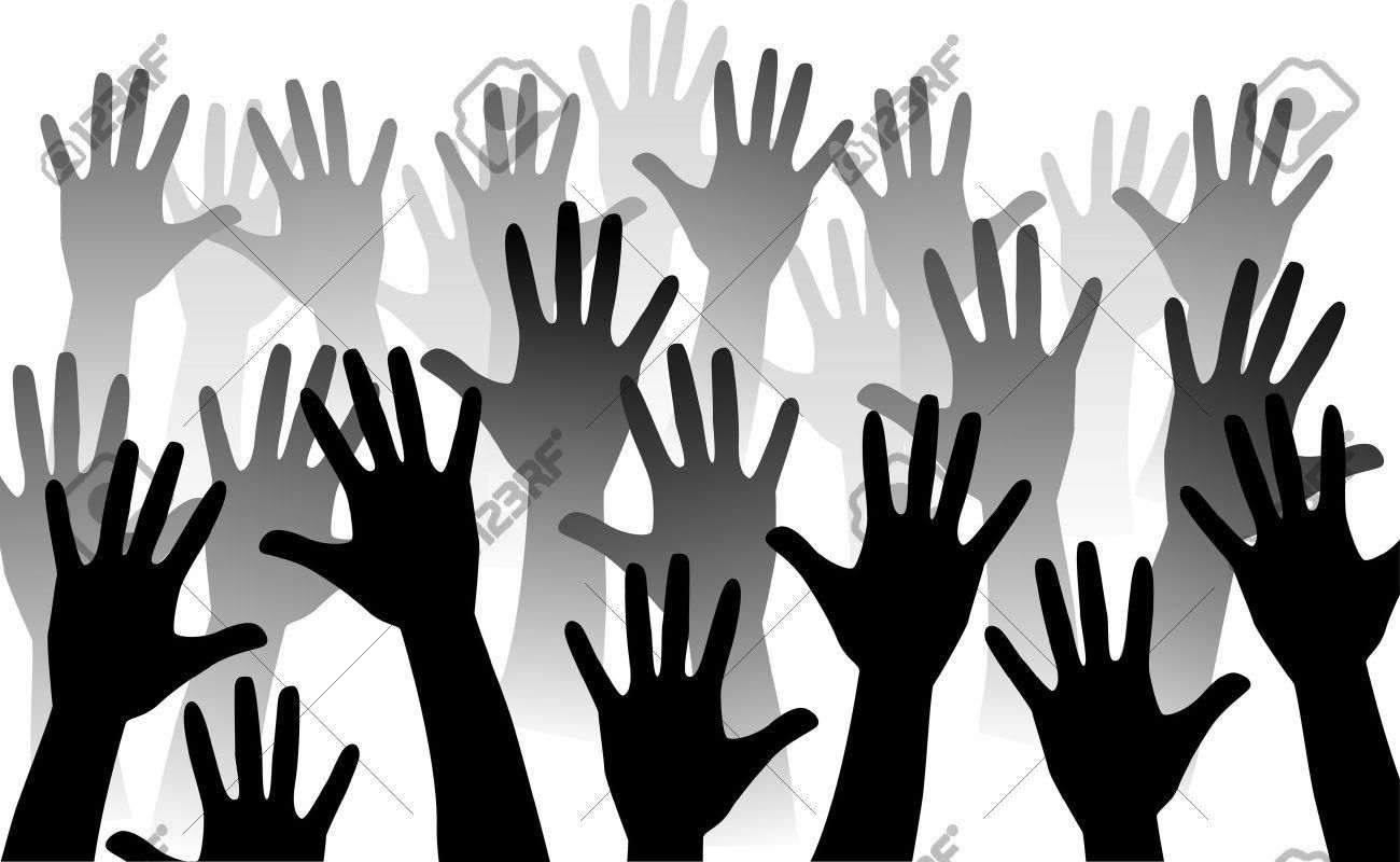 hands reaching up , rise hand.