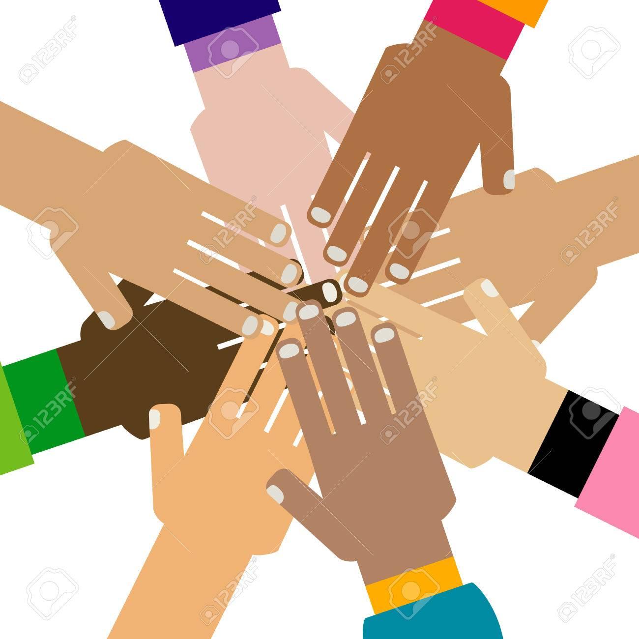 diversity hands together illustration.
