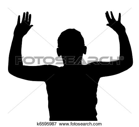 Clip Art of Isolated Boy Child Gesture Hands Up k6595987.