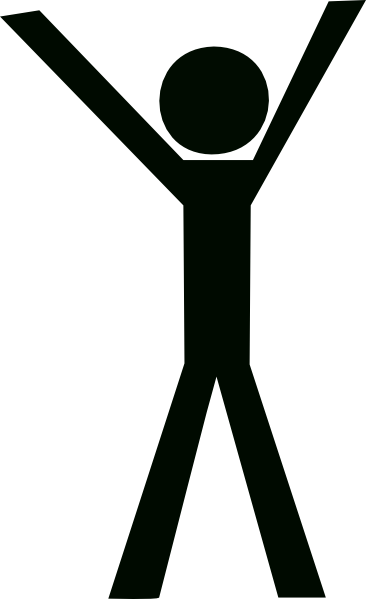 Clipart of a man with hands up.