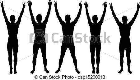 EPS Vector of hands up silhouettes csp14591241.