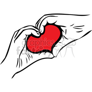 hands forming shape of heart clipart. Royalty.