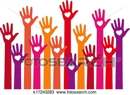 Red hands with heart, vector Clipart.