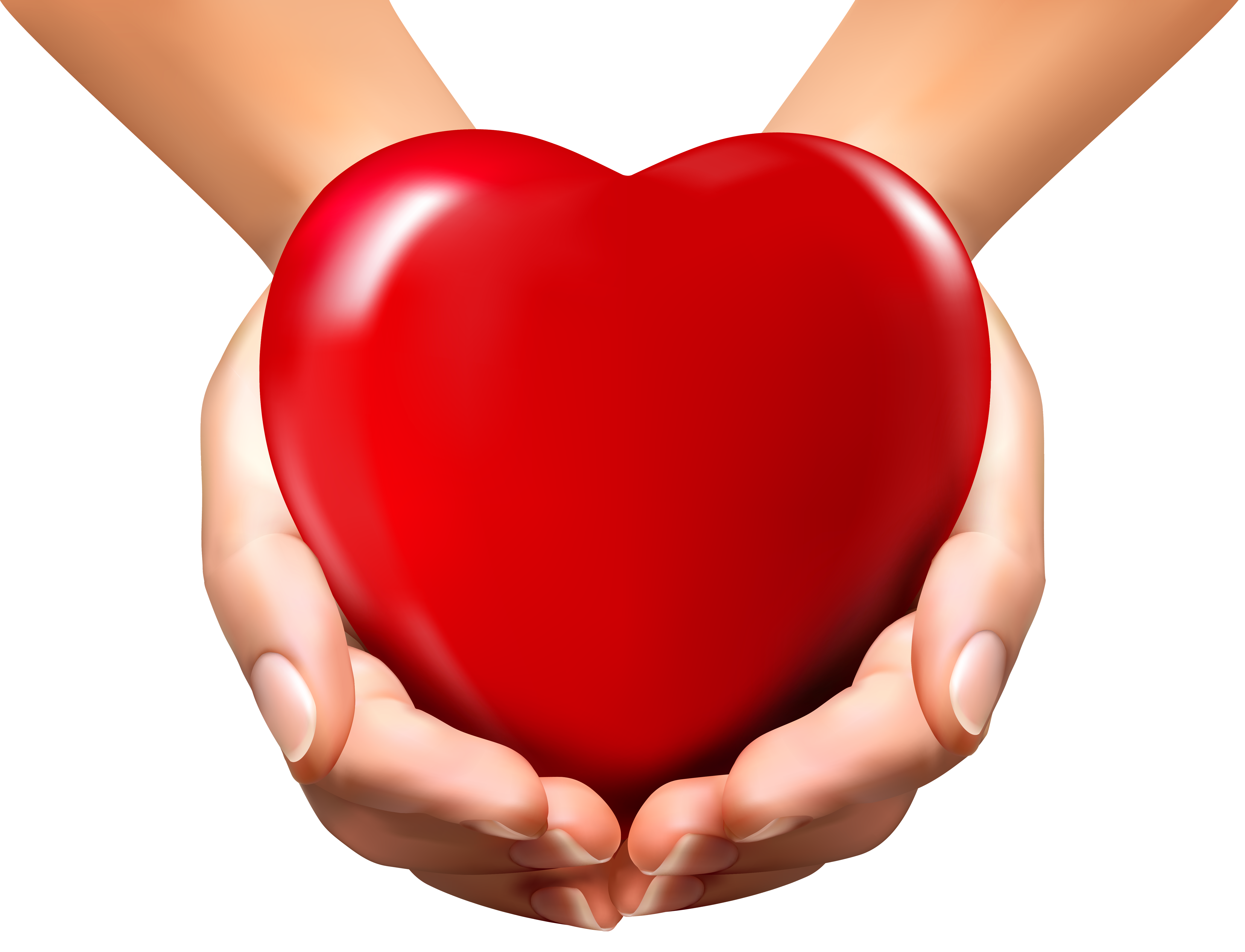 Online Hands with Heart PNG Clipart Image.