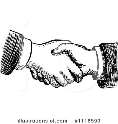 Black White Handshake Clipart.