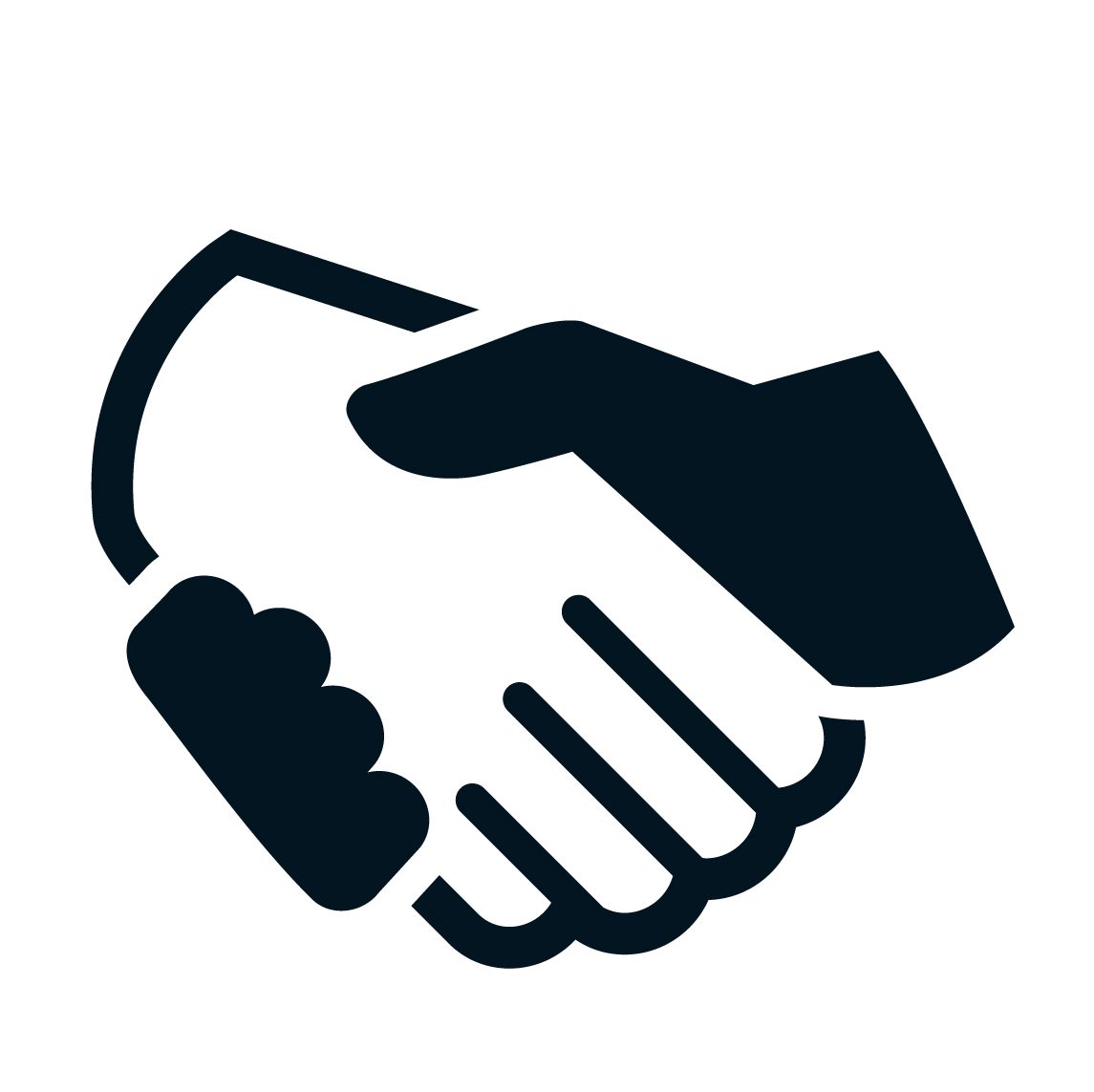 Example for the handshake icon element of the logo.