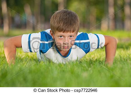 Stock Image of Training athletic boy.