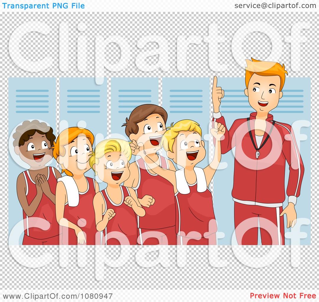 Clipart Coach Giving His Team A Pep Talk In A Locker Room.