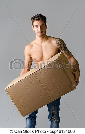 Pictures of Handsome, athletic, shirtless young man carrying big.