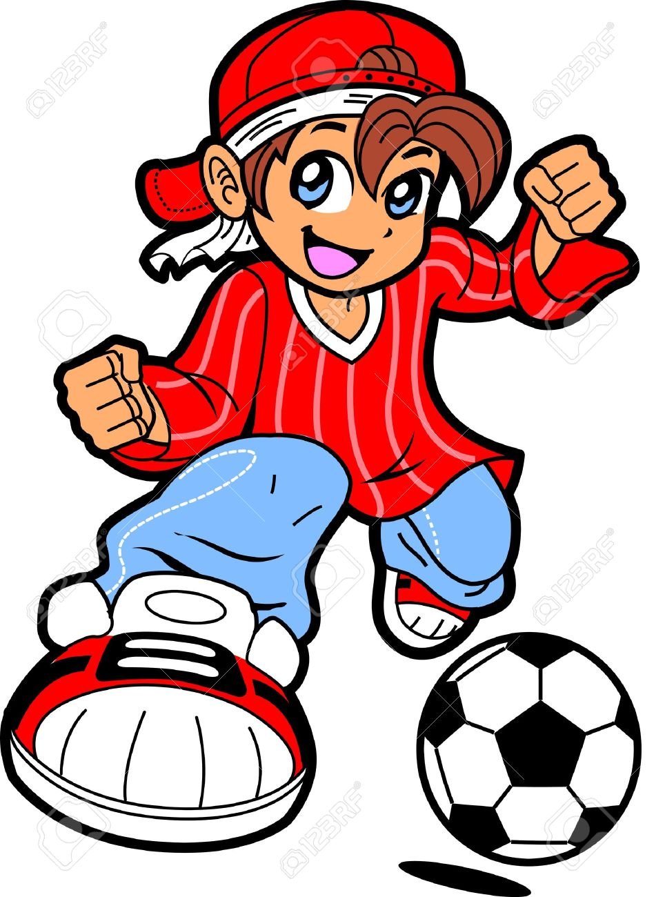 Happy Young Man Boy Soccer Player In Anime Manga Cartoon Style.
