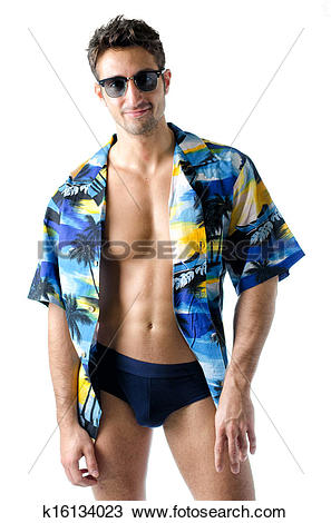 Stock Photo of Handsome, athletic young man with open shirt and.