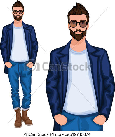 Vectors Illustration of Hipster young guy.