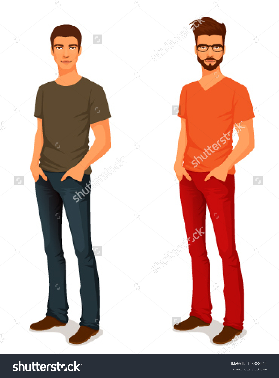 Illustration Young Handsome Man Casual Clothes Stock Vector.