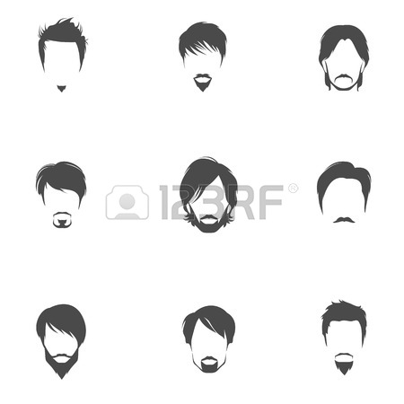 Handsome Man Male Head Silhouettes Avatars Set With Haircut Styles.