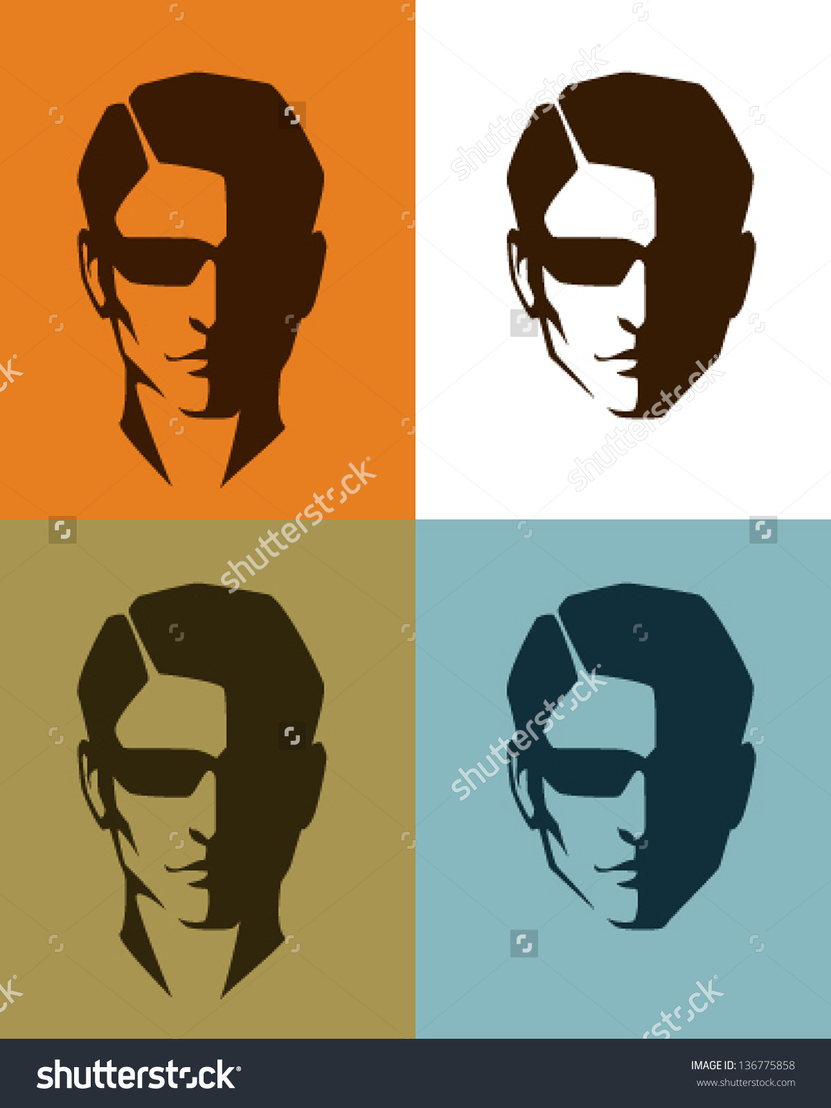 Simple Illustrations Handsome Man Face Sunglasses Stock Vector.