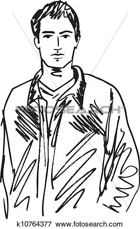 Clip Art of Sketch of handsome man. Vector illustration k10764377.