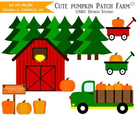 Fall Clip Art, Cute Pumpkin Clip Art, Fall Pumpkin Patch Clipart.