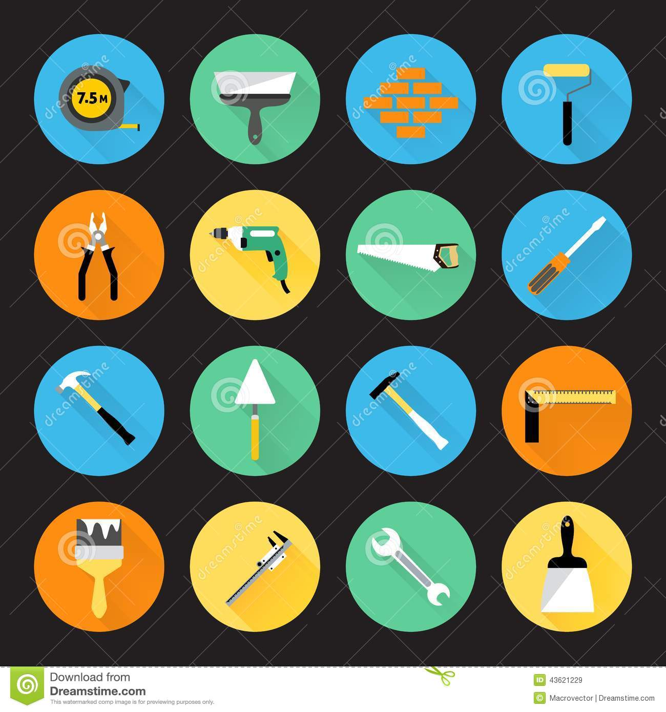 Builder Instruments Icons Stock Vector.