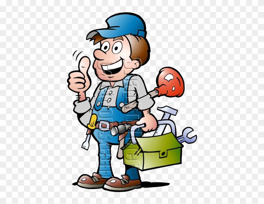 Plumbing Handyman With Tools.