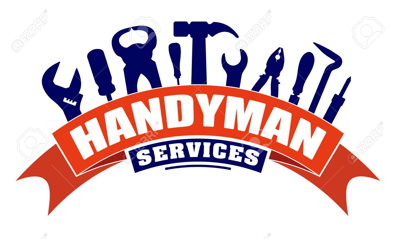 Handyman services vector design for your emblem with bend red...