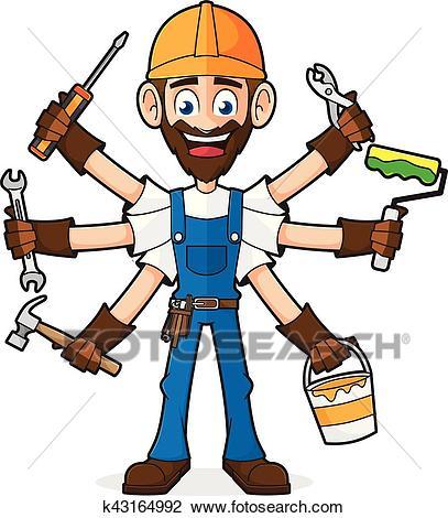 Handyman Holding Tools Clipart.