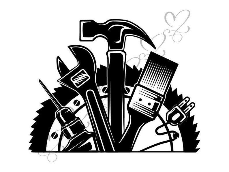 Wrench Hammer Screwdriver Repair Fix Handyman Hardware Tool Work Handyman  .SVG .EPS .PNG Vector Clipart Digital Download Circuit Cut Cutting.