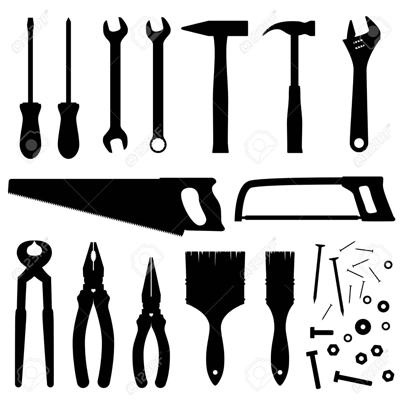 Hand industrial and building tools vector silhouettes. Handyman...