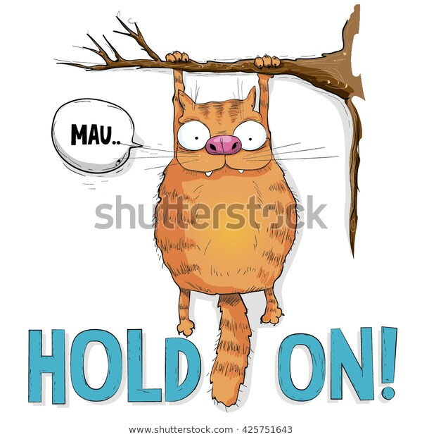 Ginger Cat Hanging On Tree On Stock Vector (Royalty Free) 425751643.