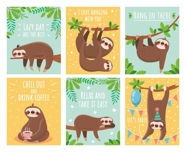 Best Sloths Illustrations, Royalty.