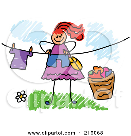 Girl hanging clothes clipart.