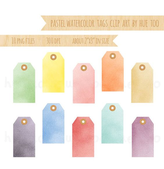 tags aquarelles pastels clip art, aquarelle hang tags clipart.