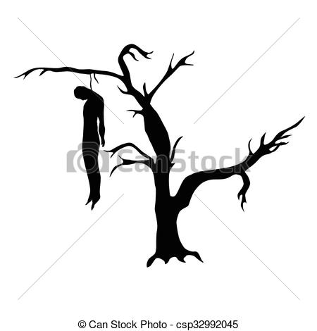 EPS Vector of Man hanged from a dead tree silhouette isolated on.
