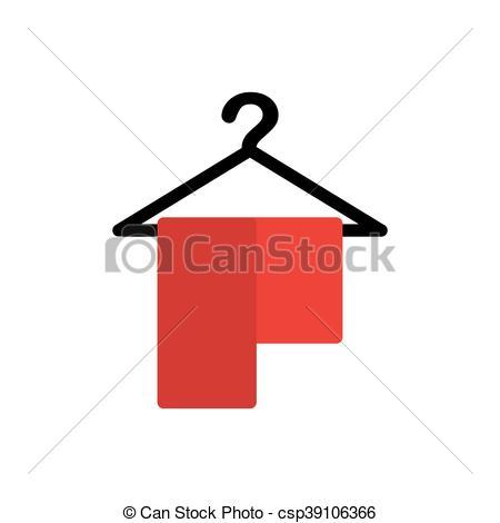 Clip Art Vector of towl hanger cotton bath hotel icon. Vector.
