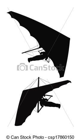 Clipart Vector of hang glider silhouette.