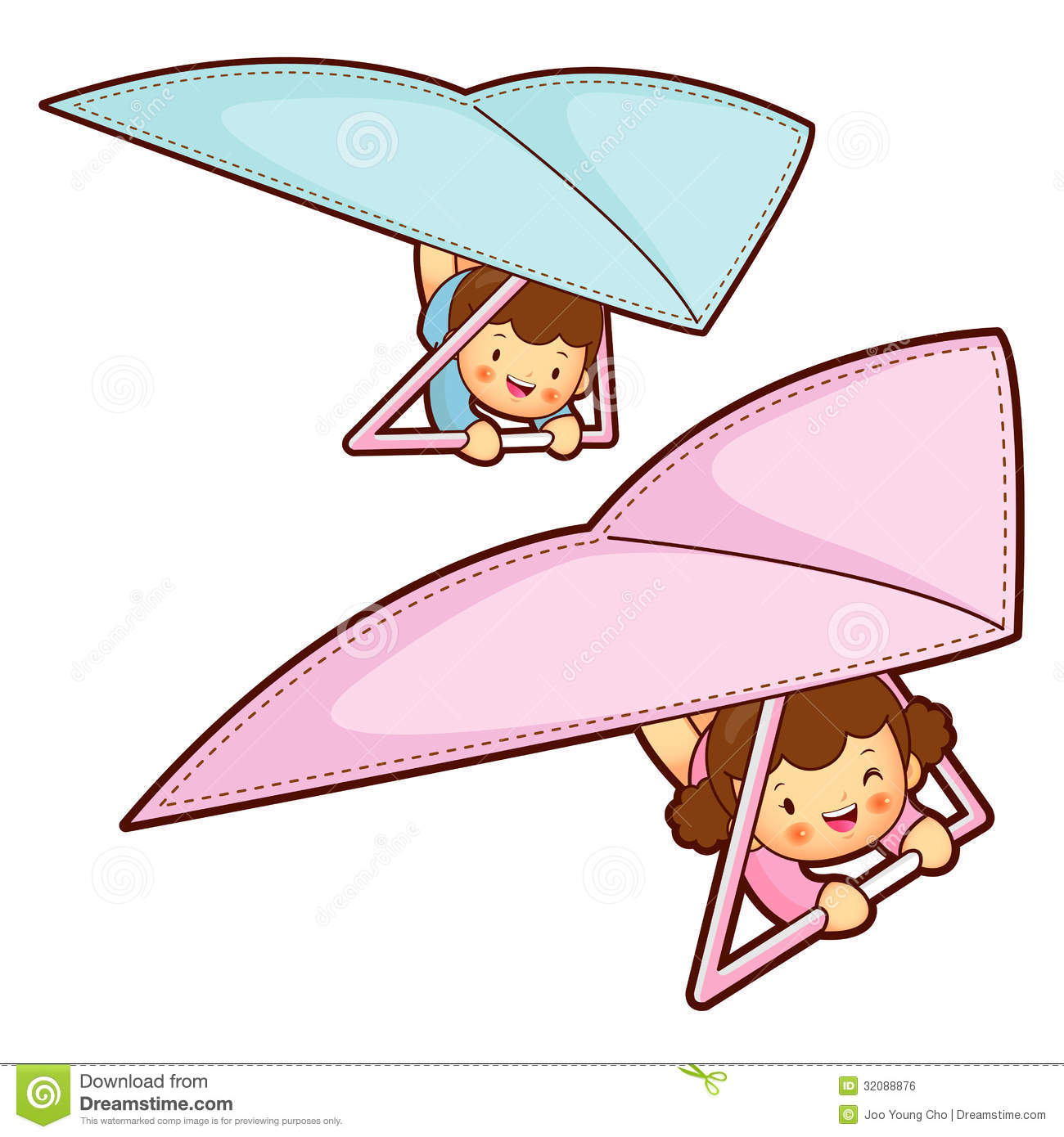Boy And Girl Is Riding A Hang Gliding In The Sky. Education And.